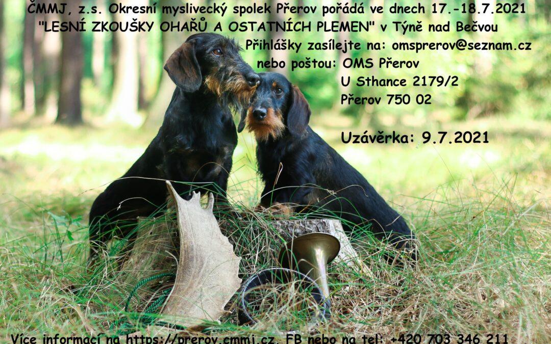 Lesní zkoušky ohařů a ostatních plemen 17.-18.7.2021