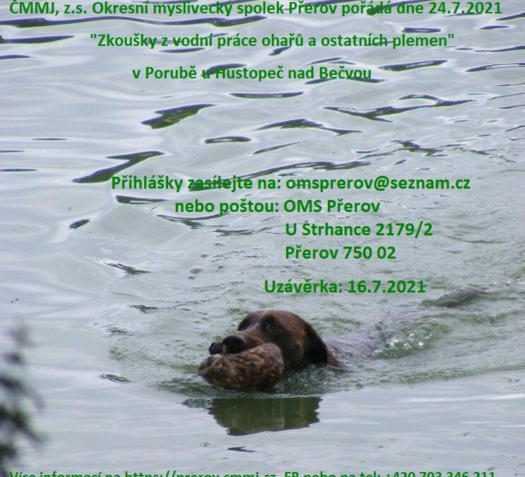 Zkoušky z vodní práce ohařů a ostatních plemen